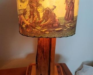 Vintage Lodge Lamp with Indian Scenes