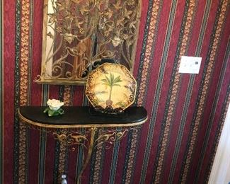 Vintage Gold Mirror and Gold and Black Shelf