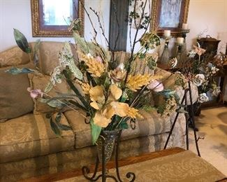 Wrought Iron and Glass Floral Arrangement