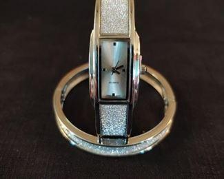 Silvertone Watch and Bracelet set