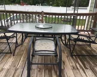 . . . a nice patio set with adjustable chairs
