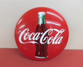 """1950's Porcelain Coca Cola Button(24"""" Diameter)"""