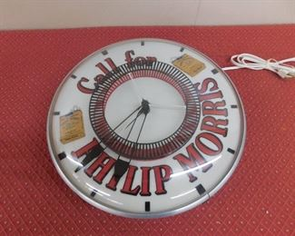 "Philip Morris Spinner Clock(15"" Running)"