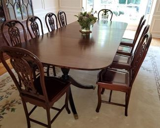 "Large, Mahogany Dining Table 68""x48"",  2 leaves 17'.5""x 48"",  Rosewood Dining Chairs"