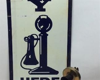 VTG. PAY PHONE SIGN & BRASS CANDLE ROTARY DIAL TELEPHONE