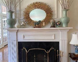 Great quality gilt metal oval sunburst mirror
