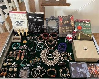 Jewelry including 3 great pairs of Lunch at the Ritz earrings