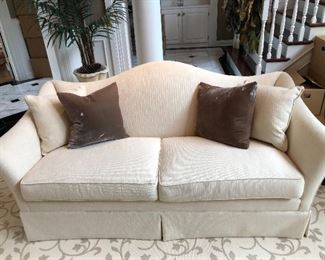 "HICKORY CHAIR 75"" SOFA, CUSTOM FABRIC, CUSTOM BROWN & WHITE PILLOWS"