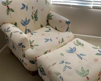Comfortable floral chair with ottoman