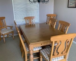 Dining table with one leaf and six chairs. Matching hatch not shown