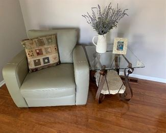 Neutral side chair, end table with matching coffee table not shown