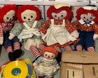 Large selection of Raggedy Ann and Andy's