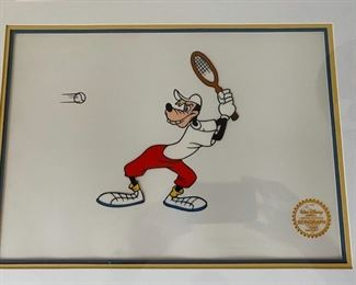 "Disney's Goofy ""Tennis Racquet"" Limited Edition Serigraph Cel Gold Leaf.	21x17		D962"