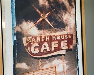 Signed and numbered photo print ranch house cafe sign Scott 99 17/195 framed	27x33		D940