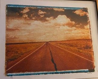 Signed and numbered cracked roadway print Scott98 7/195 framed	33x27		D938