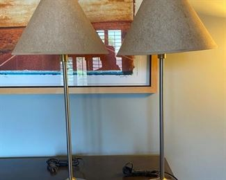 Tall metal nightstand lamps (pair)	6x26		D935