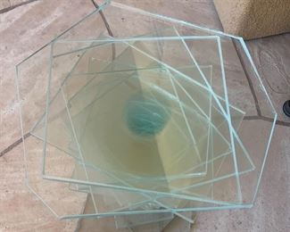 Stacked Glass End Table Artist Made Single	19x18x17in	HxWxD	19641