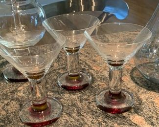 5pd Red Glass Italian Bar set Glasses Decanter	Decanter: 14in H		19565