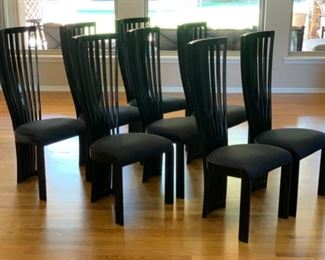 8 SPA Tonon & C Black Lacquer Contemporary Slat Back Chairs Italy	44x19x19in.  Seat Height 19in		19556