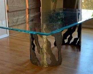 Huge Contemporary Glass Top Brushed  Metal Pipe Dining Table	30x48x96in	HxWxD	19555
