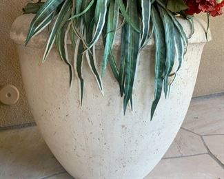 #1 Large Cast Stone Planter/Pot w/ Faux Flowers	25in H x 28in Diameter		19533