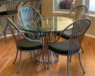 Arthur Umanoff Shaver-Howard  Steel & Glass Contemporary Dining Table w/ 4 Chairs	Table: 30x47in Diameter  Chairs: 40x23x22in	19531