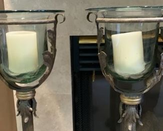 2pc Glass & Iron Candle Stands	34in H x 9.5in Diameter		19520