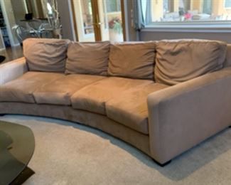#1 10ft Contemporary Ultra Suede Curved Sofa/Couch