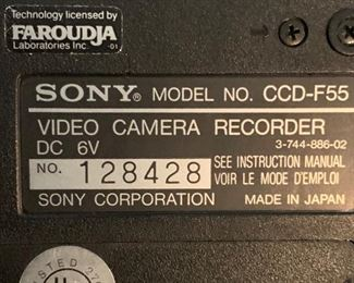 Sony CCD-F55 Video Camera Recorder			19675
