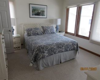 Bedroom set includes headboard, matching nightstands (2) and a long dresser