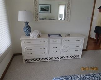 Long dresser matches bed and nightstands
