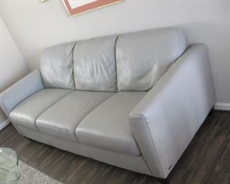 "$800.00, originally 3400.00, .87"" long 36"" deep, Dove Gray leather sofa 2 years old never used"
