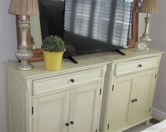 """$150.00 each,  30"""" W x 34"""" tall New 2 painted celery green cabinets contemporary"""