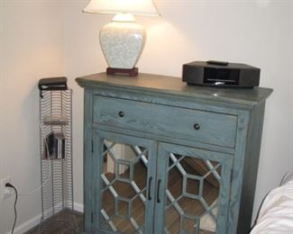 """36"""" Wide x 40""""T, Painted distressed blue storage cabinet, Bose radio"""