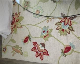 $250.00, Pottery Barn floral rug 7.5 x 9'