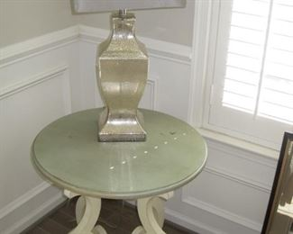 Pair of Painted tables and lamps