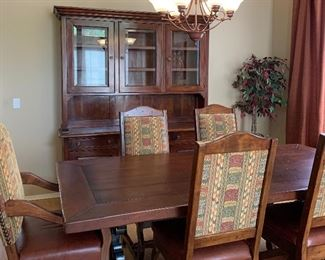 Gorgeous Fiesta Furnishings Trestle Table w Iron Accents, 2 Arm Chairs, 4 Side Chairs  and Matching Buffet