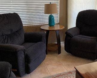 La-Z-Boy Reclining Loveseat and 2 Rocker/Swivel Recliner Chairs, Wine Barrel Table, Table Lamp