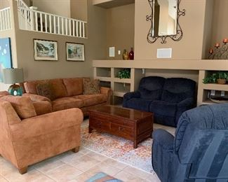 Broyhill Suede Look Sofa and Chair w Nailhead Accent, Area Rug, Lexington Cherry Raised Panel Coffee Table w Storage Access on 2 Sides, La-Z-Boy Loveseat and 2 Rocker/Swivel Recliner Chairs