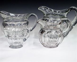4 early 20th century Hersey type 10 panel pitchers