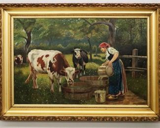 """Late 19th century American farm yard scene with cows. Oil on canvas, 38 1/2 x 27 1/2"""" high."""