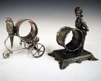 2 early 20th century silver plate napkin rings