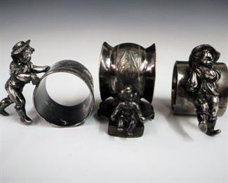 3 early 20th century silver plate napkin rings