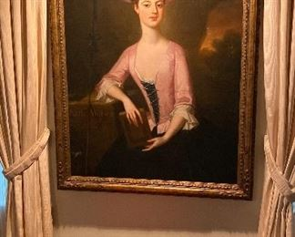 Circa. 1740 large oil on canvas, Watson/Southwell family of England, Exquisitely done~!
