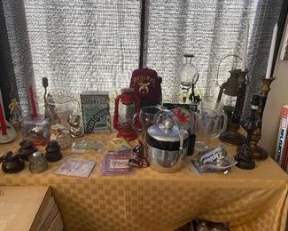 Vintage Bar Ware, Oil Lamps, Lanterns