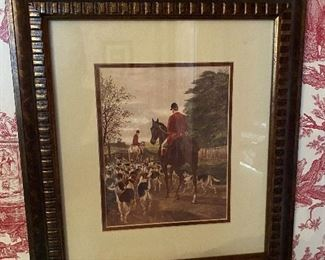 Framed horse and hound print