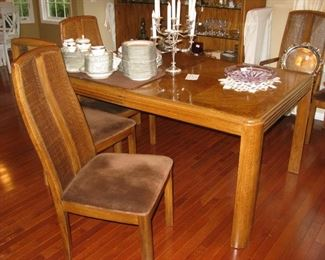 Dining room table, 2 leaves and 6 chairs    BUY IT NOW