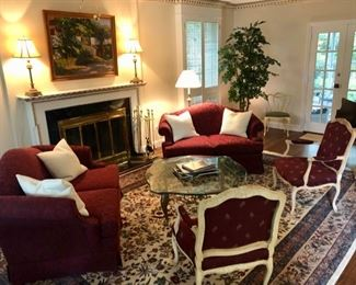 Beautiful, traditional furnishings throughout. Pair red velvet love seats, pair armchairs & coffee table
