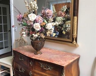 Antique marble top Bombe chest with bronze Ormolu detail