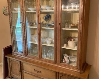 """#50American of Martinsville Mid Century Breakfront China Cabinet with antique white stained interior 66""""x17""""77"""" bought 11/6/1963 $250.00"""
